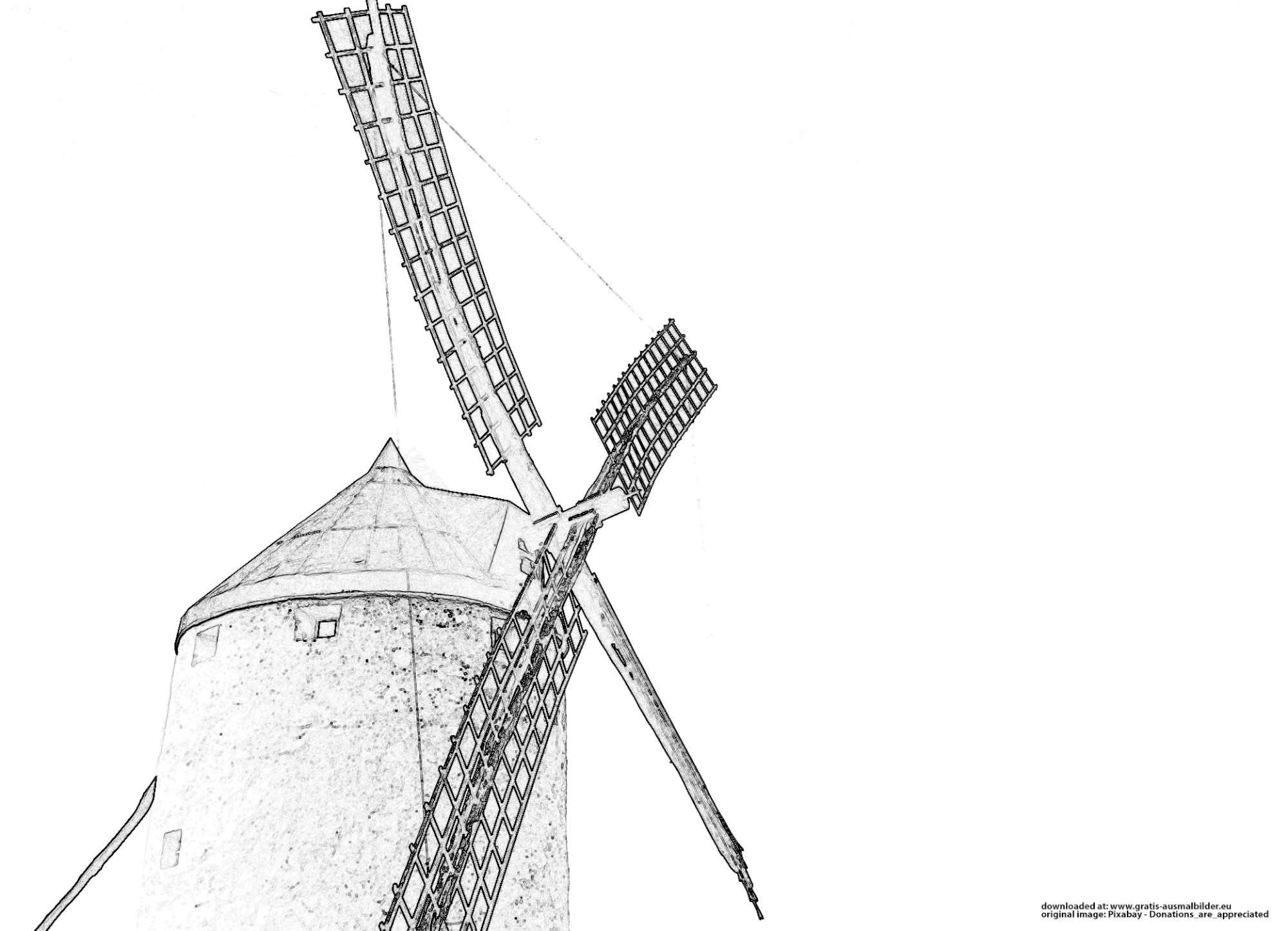 windmühle  gratis ausmalbild