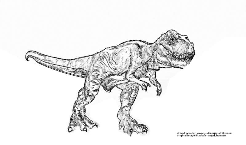 Tyrannosaurus Rex Gratis Ausmalbild