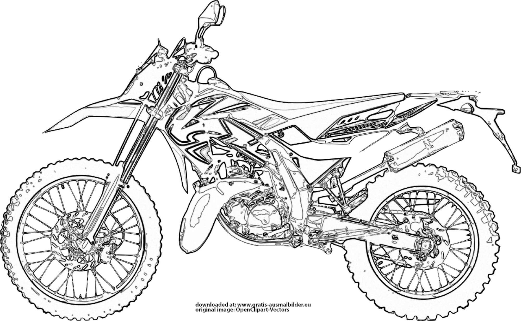 ▷ Motocross Motorrad - Gratis Ausmalbild