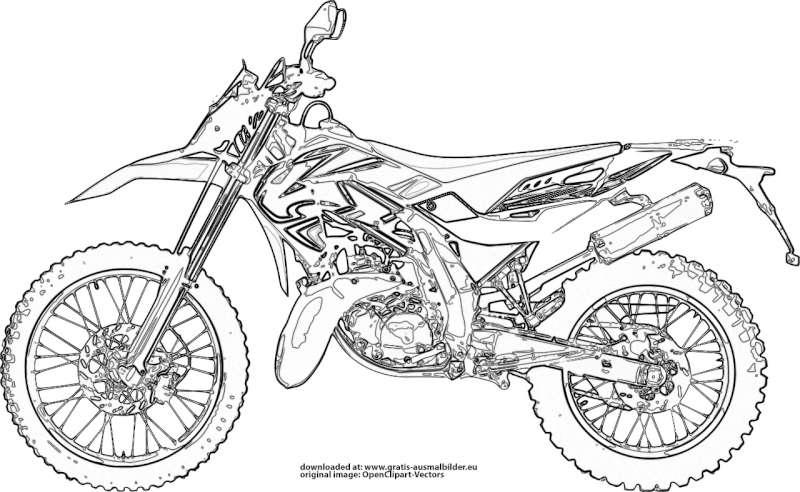 Motocross Motorrad Gratis Ausmalbild