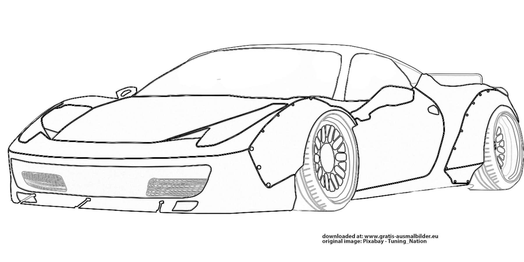 ▷ Ferrari Sportwagen - Gratis Ausmalbild