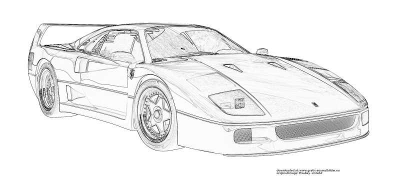 Ferrari Gratis Ausmalbild