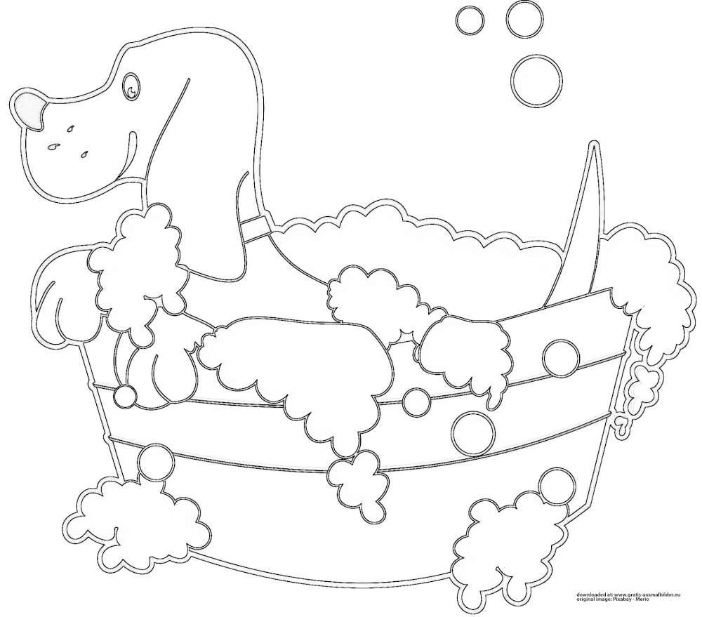 hund in badewanne  gratis ausmalbild