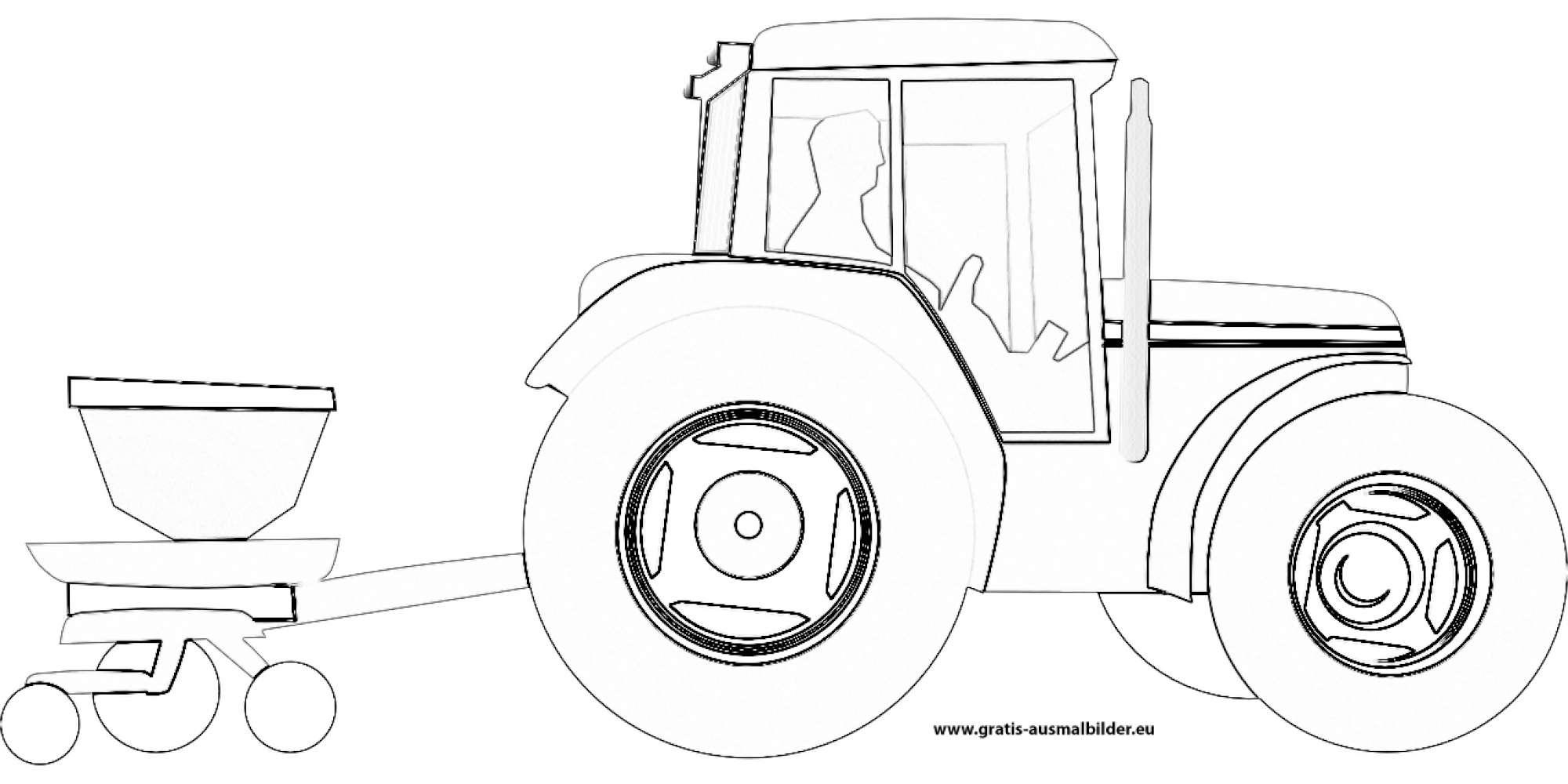 traktor mit anhänger - gratis ausmalbild