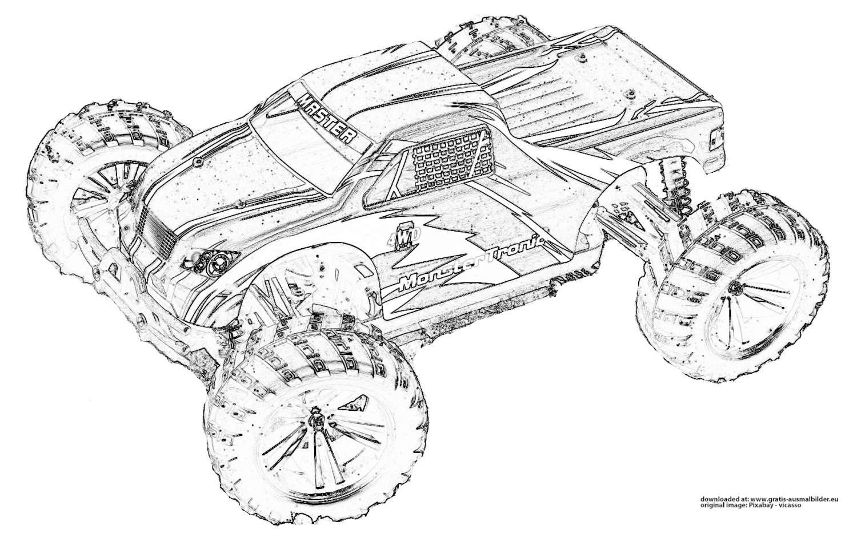 monster truck  gratis ausmalbild