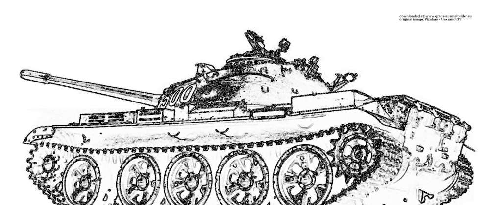 russischer panzer  gratis ausmalbild