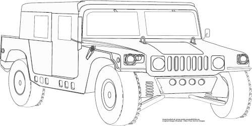 ausmalbild jeep  cartoonbild