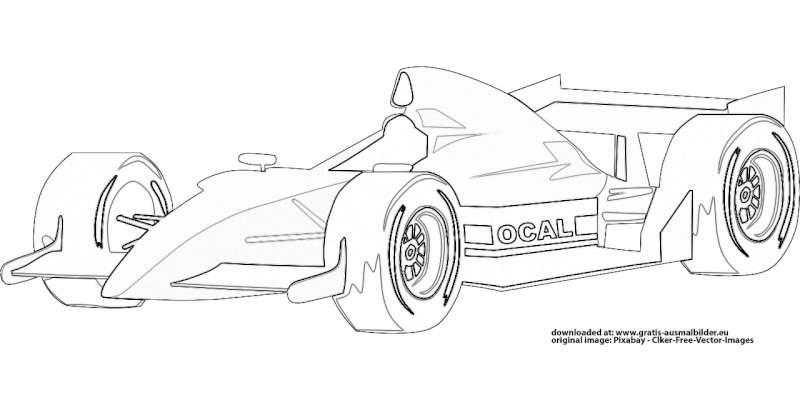 Formel 1 Auto Gratis Ausmalbild
