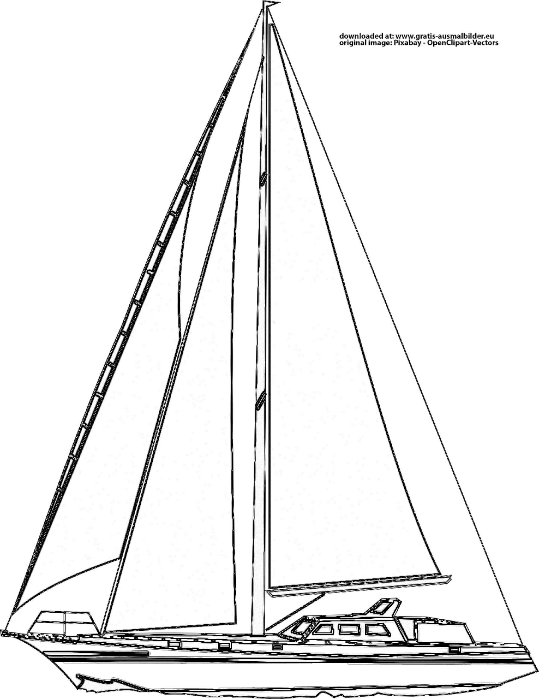 segelboot  gratis ausmalbild