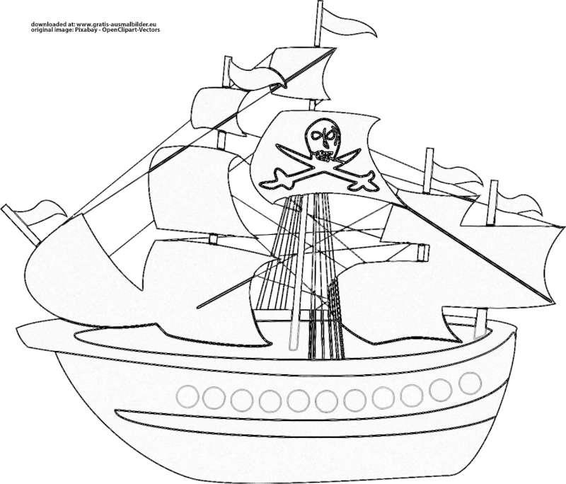 piratenschiff  gratis ausmalbild