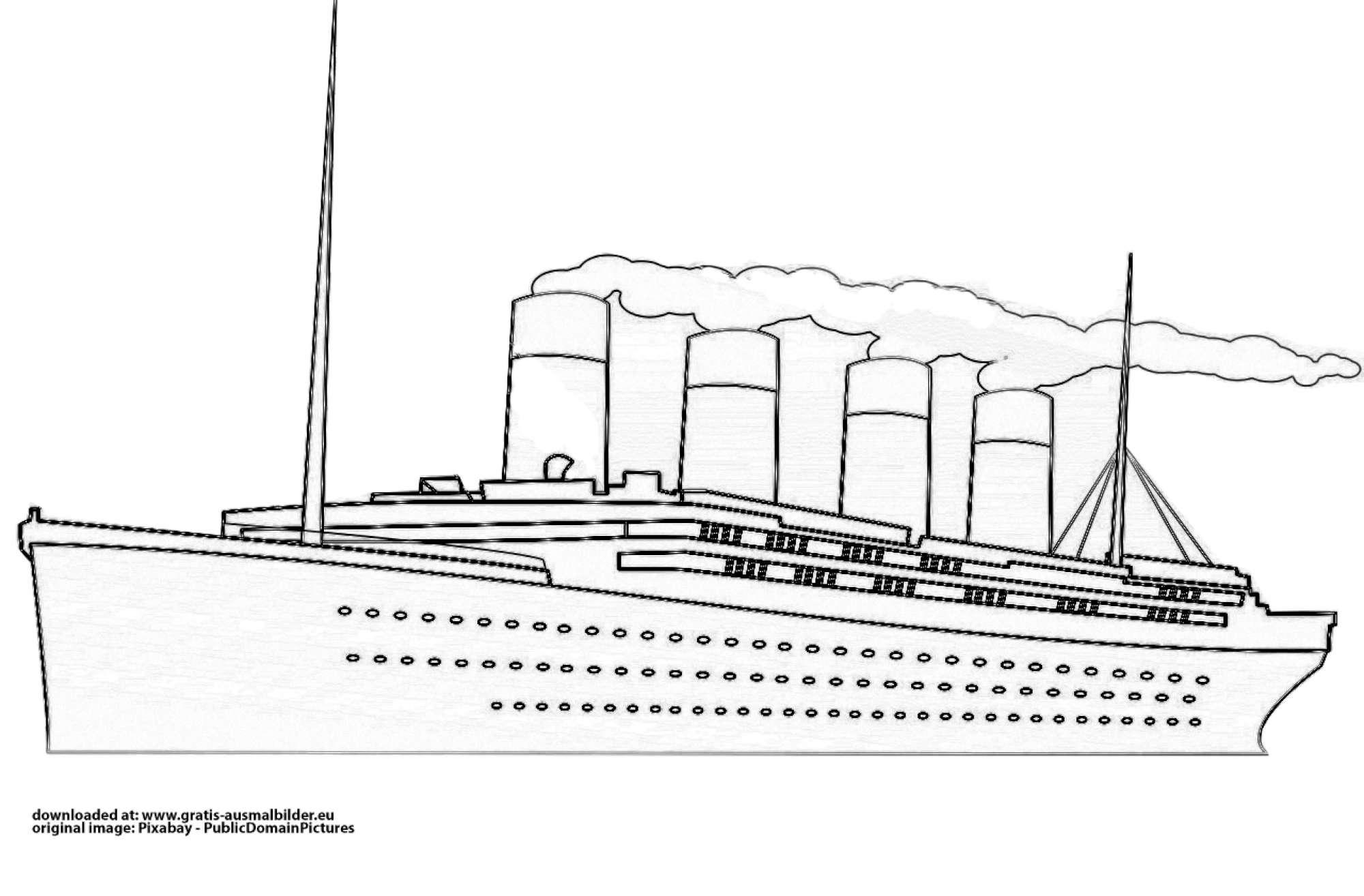 Titanic mit Rauch - Gratis Ausmalbild