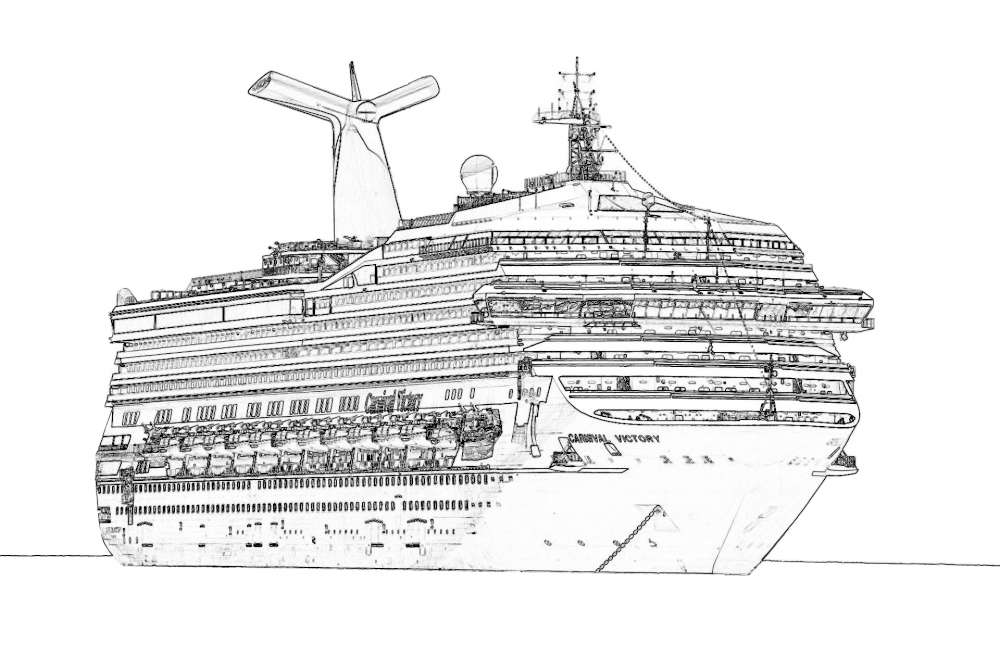 kreuzfahrtschiff fähre  gratis ausmalbild