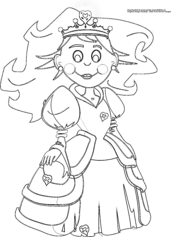 Prinzessin - Gratis Ausmalbild