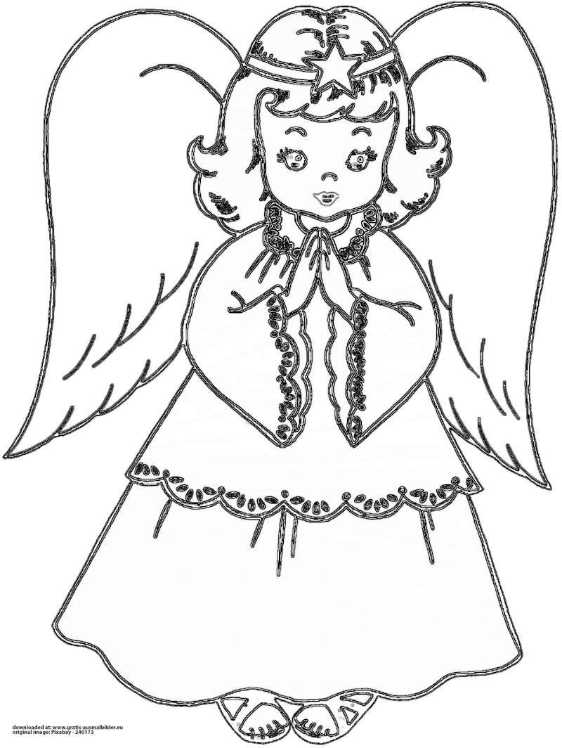 ▷ Betender Engel - Gratis Ausmalbild