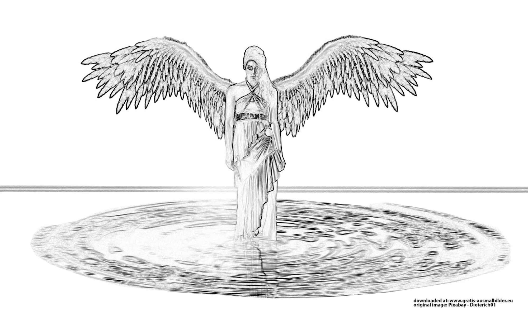 ▷ Engel im Wasser - Gratis Ausmalbild