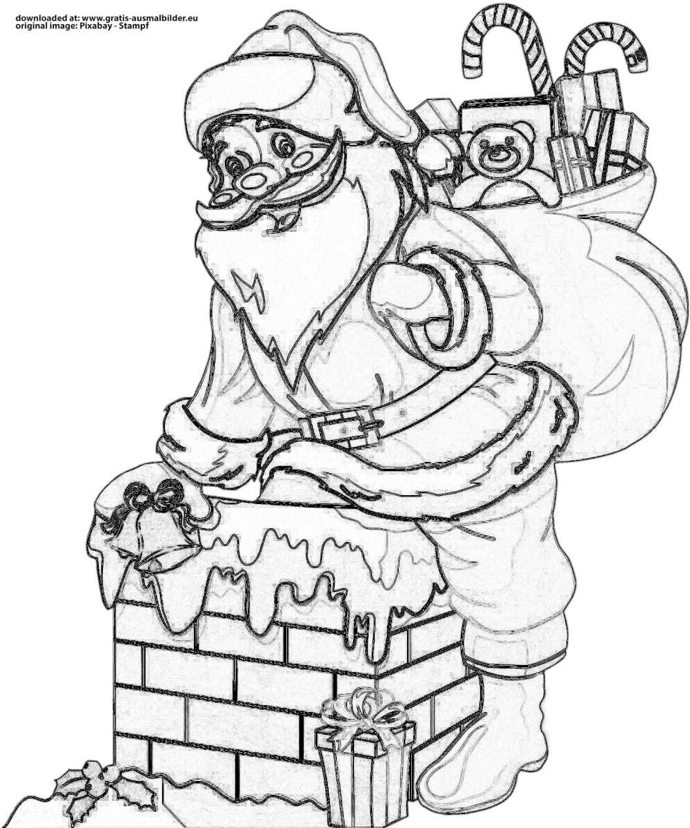 weihnachtsmann mit geschenken - gratis ausmalbild