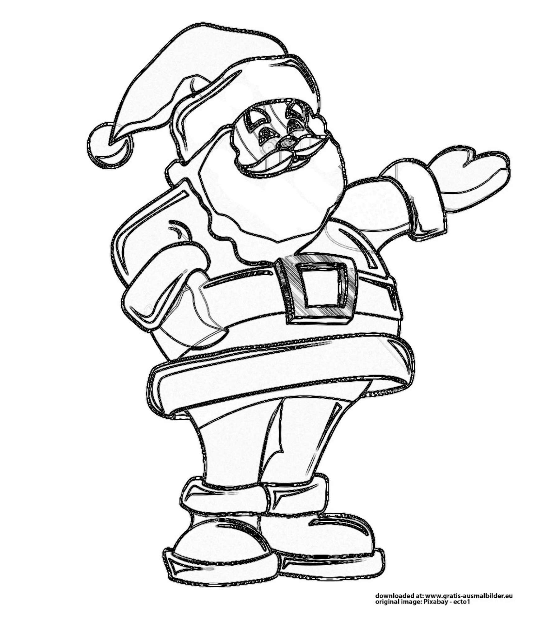 weihnachtsmann - gratis ausmalbild