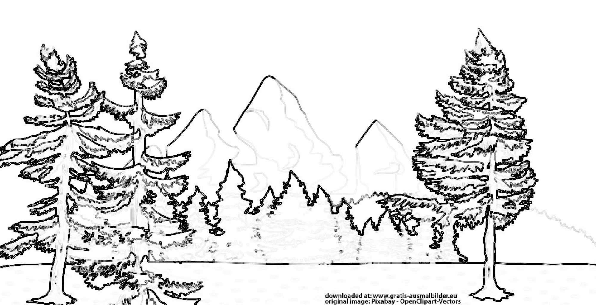 ▷ Berge und Wald - Gratis Ausmalbild